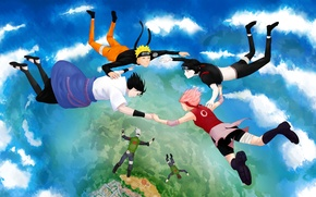 Wallpaper the sky, clouds, flight, anime, art, naruto, naruto, Uchiha Sasuke, Hatake Kakashi, Haruno Sakura, Uzumaki ...