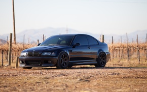 Picture the sky, black, bmw, BMW, shadow, black, front view, e46