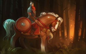 Picture forest, trees, horse, warrior, hero, shield, folklore, hero