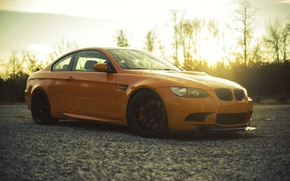 Picture sunset, orange, BMW, BMW, side view, orange, e92
