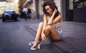 Picture asphalt, girl, street, shorts, curls, legs, Dasha, Darya