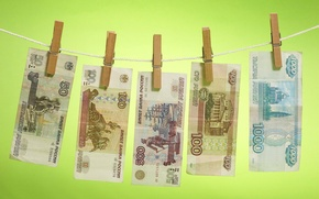 Picture Money, rope, drying, bills, rubles, clothespins