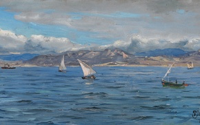 Picture picture, Peder Monsted, boat, mountains, sea, clouds, the sky, sail, landscape