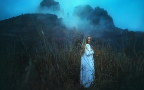 Picture grass, girl, rocks, TJ Drysdale, Winter Day Declining
