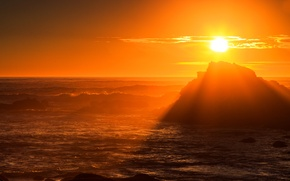 Picture sea, wave, the sky, the sun, sunset, storm, rock