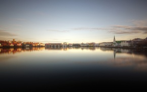 Picture reflection, Church, Bay, Iceland, reflection, Iceland, Reykjavik, bay, church, Reykjavik