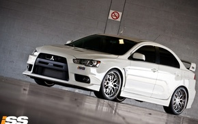 Wallpaper white, Lancer X 10, no Smoking, Mitsubishi, Parking