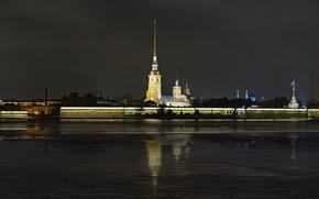 Picture night, fortress, Neva, Saint Petersburg, Petropavlivka, Peter and Paul