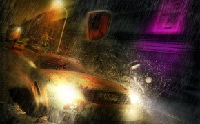 Wallpaper auto, Audi, the rain, speed