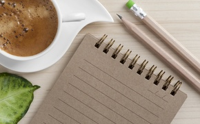Picture coffee, Notepad, pencil