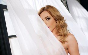 Picture look, window, blonde, curtain, Lexi Belle