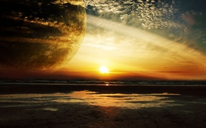 Picture sea, sunset, planet, ring, giant