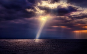 Picture sea, the sky, clouds, overcast, yacht, twilight, the rays of the sun