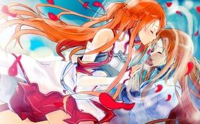 Picture kiss, petals, Sword art online, Sword Art Online, Asuna Yuuki, through the looking glass