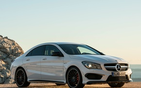 Picture car, Mercedes-Benz, white, AMG, wallpapers, CLA