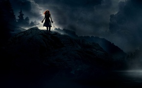 Picture Girl, Light, Red, Fantasy, Clouds, Sky, Rock, 2010, Darkness, Wood, Water, Eclipse, Night, The, Wallpaper, …