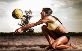 Picture ball, pose, volleyball, sand