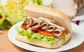 Picture tomato, sandwich, sauce, ham, filling, salad
