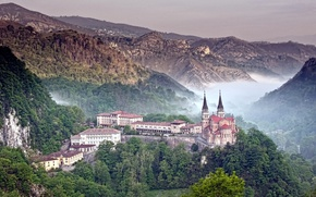 Picture forest, mountains, nature, fog, photo, castle, building, Cathedral, Spain, Asturias, Covadonga, the ridge of the ...