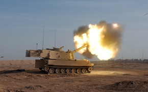 """Picture Desert, Shot, Howitzer, """"Paladin"""", M109A6"""