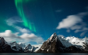Picture stars, mountains, Northern lights, Norway