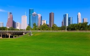 Wallpaper skyscrapers, bridge, road, home, trees, Texas, lawn, greens, field, Houston, blue, the sky, grass, Houston, ...