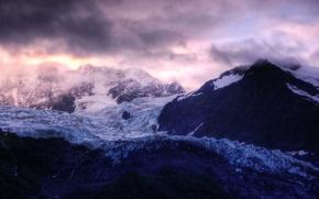 Wallpaper clouds, Mountains, glacier