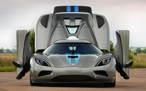 Picture .the hood, agera, grey, Agera, supercar, Koenigsegg, hypercar, the front, Koenigsegg, the sky, door