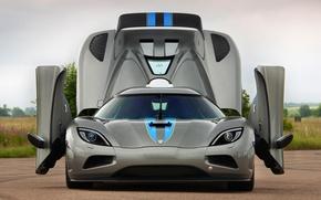 Picture the sky, grey, door, Koenigsegg, supercar, the front, Agera, hypercar, Koenigsegg, .the hood, agera