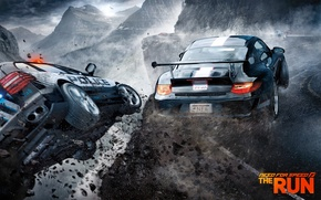 Picture road, mountains, fog, police, Porsche, racer, canyon, Need For Speed: The Run