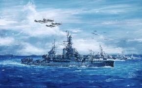 Picture sea, wave, the sky, figure, ships, art, aircraft, WW2, Uss Pennsylvania, Pennsylvania, American ship of …