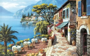 Picture sea, mountains, the city, picture, painting, painting, Sung Kim