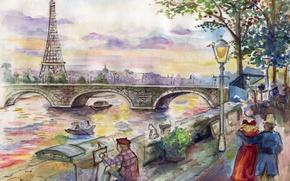 Picture bridge, figure, Paris, art, artist, painting