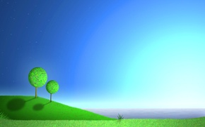 Picture sea, the sky, grass, trees, landscape, nature