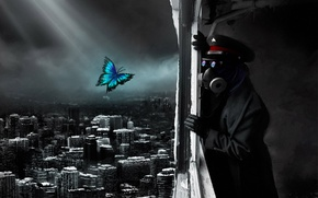 Wallpaper the city, butterfly, Apocalypse, destruction, gas mask, captain, the end, Romantically Apocalyptic