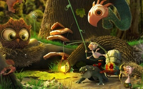 Picture forest, animals, tree, bird, tale, art, creatures, wagon, goblins, Y.Soner Yurtseven