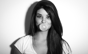 Picture Girl, Hair, Bubble, Brunette, Chewing gum, Gum