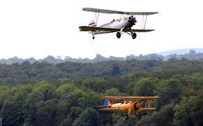 Picture forest, the sky, trees, blur, aircraft, Focke-Wulf Stieglitz Fw44J, Boeing Stearman E75