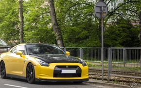 Picture car, yellow, the city, street, tuning, day, Nissan, carbon, yellow, Nissan, gtr, carbon, r35, carbon …
