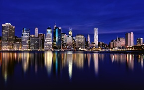 Picture New York, megapolis, backlight, skyscrapers, reflection, New York, lights, building, night, blue, the sky, river, ...