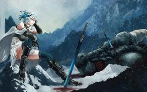 Wallpaper girl, snow, weapons, dragon, monster, sword, art, akaikitsune