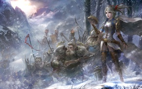 Picture girl, fantasy, weapons, mountain, sword, armor, art, squad, Dwarf
