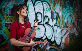 Wallpaper Graffiti, Lindsey Stirling, Violin, Violin.