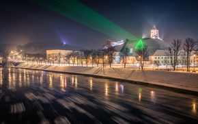 Wallpaper Lithuania, Vilnius, Festive laser projections