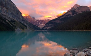 Picture forest, sunset, mountains, lake