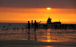 Wallpaper wave, beach, sunset