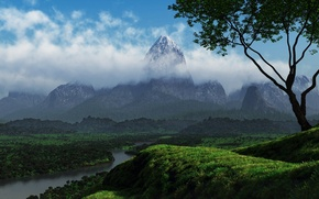 Wallpaper greens, clouds, trees, nature, river, hills, mountain