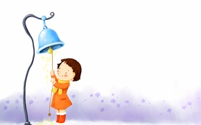 Picture snowflakes, smile, girl, boots, coat, baby Wallpaper, bell