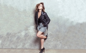 Picture girl, wall, actress, beauty, shoes, brown hair, legs, leather jacket, kozhanka, Jenna Coleman, Jenna Coleman