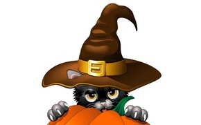 Picture look, holiday, vector, hat, claws, Halloween, pumpkin, black cat, ears